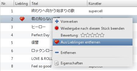 Exaile-Wiedergabeliste mit Plugin-Integration als Spalte und im Kontextmenü
