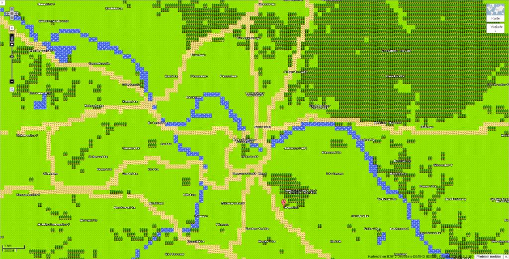 Dresden in Google Maps, Dragon-Quest-Ansicht